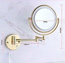 Kupfer LED Badezimmer Spiegel Wandspiegel ein- und ausklappbarer Spiegel