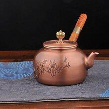 Kupfer-Teekanne mit seitlichem Griff,