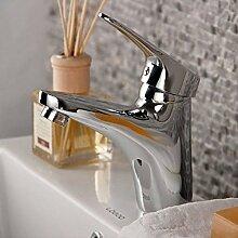 Kupfer waschbecken heißer und kalter wasserhahn