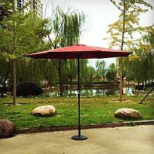 Kurbel Sonnenschirm Gartenschirm Terrasse Sonnenschutz Kurbelschirm Ø2,7m H2,5m, Gestell Aluminium/Stahl, ohne Schirmständer, ca. 5.2kg (Rot)