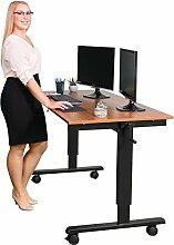 Kurbelverstellbarer Sitz-Stehtisch - Wohnung Schreibtisch (Rahmen schwarz / Teakholz, Schreibtisch Länge: 150cm)