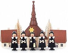 Kurrende mit Bommelmütze schwarz mit Kirche