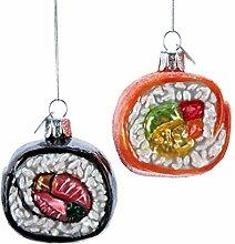 Kurt Adler Noble Gems Glass Sushi Ornament 2Pc Se