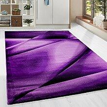 Kurzflor Guenstige Teppich modern geometrisch Lienien Schatten Muster Schwarz Lila Pink meliert 5 Groessen Wohnzimmer, Gästezimmer , Flur, Schlafzimmerm, Kueche, Läufer, Größe:80x300 cm