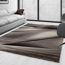 Kurzflor Guenstige Teppich modern geometrisch Lienien Schatten Muster Braun Mocca Beige Creme meliert 5 Groessen Wohnzimmer, Gästezimmer , Flur, Schlafzimmerm, Kueche, Läufer, Größe:80x150 cm