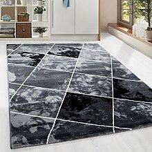 Kurzflor Guenstige Teppich modern Patchwork Fliesen Muster Schwarz Grau Weiss meliert 5 Groessen Wohnzimmer, Gästezimmer , Flur, Schlafzimmerm, Kueche, Läufer, Größe:80x300 cm