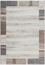 Kurzflor Teppich Beige Elfenbein Creme Grau Silber