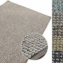 Kurzflor Teppich Carlton | Flachgewebe dezent gemustert | robuster Schlingenteppich in vielen Größen | als Wohnzimmerteppich, Küchenteppich, Schlafzimmerteppich (Grau-Beige - 250x300 cm)