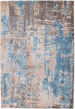 Kurzflor Teppich im Vintage Design Türkis und