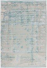 Kurzflor Teppich im Vintage Look hell Blau