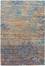 Kurzflor Teppich in Blau und Beige Vintage Look