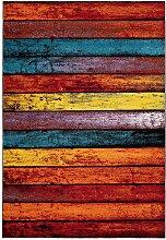 Kurzflor Teppich in Bunt Streifenmuster