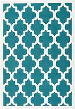 Kurzflor Teppich in Creme Weiß und Türkis