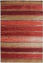 Kurzflor Teppich in Rot und Beige Vintage Design