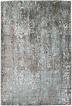 Kurzflor Teppich in Türkis und Grau Vintage Design