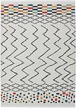 Kurzflor Teppich in Weiß und Bunt modern
