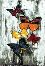 Kurzflor Teppich mit Schmetterlingen Bunt