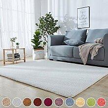Kurzflor Teppich Modern Trend Weiß 140 x 200 cm