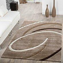 Kurzflor Wohnzimmer Teppich Modern Ebro mit Spiralen Muster Beige Braun Mocca , Größe:80x150 cm