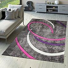 Kurzflor Wohnzimmer Teppich Modern Ebro mit Spiralen Muster in Grau Lila Creme, Größe:200x290 cm