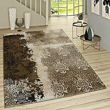 Kurzflor Wohnzimmer Teppich Used Look Mit Rokoko Muster Modern In Braun Beige , Grösse:60x100 cm
