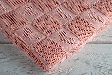 Kuscheldecke Babydecke Kinderwagendecke Taufdecke Baumwolle 110x100 Rosa Geschenkidee