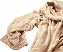 Kuscheldecke Decke mit Ärmeln Fleece beige