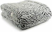 Kuscheldecke Hera in Lammfelloptik Grau/Weiß Plaid, Sofadecke, Couchdecke, Flauschdecke, Wohndecke, Felldecke
