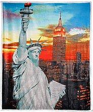 Kuscheldecke mit Motivdruck 150 x 200 cm Mikrofaser, Lammfelloptik CelinaTex 5000210 Quinta New York grau