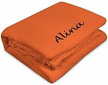 Kuscheldecke mit Namen Alina bestickt - Farbe Terra - personalisierte Decke, Wolldecke
