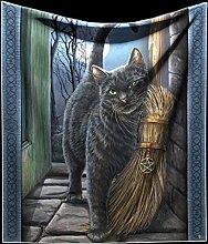 Kuscheldecke mit schwarzer Katze | A Brush with Magic by Lisa Parker | 160 x 140 cm Fantasy Gothic Decke Magie