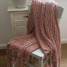 Kuscheldecke SARA Plaid rosé Strick Fransen 130 x 160 Wolldecke weich