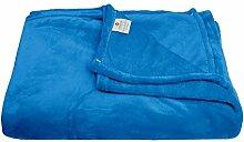 Kuscheldecke Tagesdecke Premium XXL mit Coralfleece-Microfaser- Supersoft Decke - Bettüberwurf - Wohndecke- Sofadecke - Öko Tex Zertifikat 100 220x240 cm in Blau
