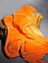 Kuscheldecke Tagesdecke Uni Orange 160 x 200