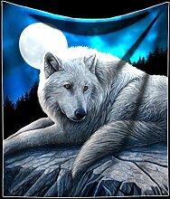 Kuschelige Decke mit Wolf | Guardian of the North by Lisa Parker | 160 x 140 cm Fantasy Kuscheldecke
