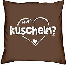 kuscheln :: Romantische Geschenkidee zum Valentinstag - Valentinstagsgeschenk Geschenk für Frauen & Männer :: Kissen inkl. Füllung Farbe: braun