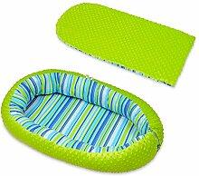 Kuschelnest Babynest Babynestchen Nestchen Reisebett Wickelauflage Kuschelbett (Muster: bunte Streifen 2 - grün)