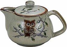 Kutani Pottery Owl Kyusu Teekanne aus Japan K5-557