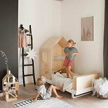 Kutikai Kinderbett aus Holz mit Hausdach Modell