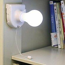 Kuulee Mode einfach Nachtlicht LED Wandleuchte Schrank Birne Lampe Selbstklebend Batteriebetrieben Wand-Nachtlicht Pull Lamp Ziehleuchte