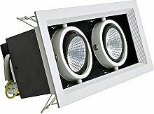 KVA LIGHTING Doppel Deckenspots 5,2 cm COB LED Downlight, Einbau Deckenleuchten Spotlight, Verstellbarer Winkel, 14 W, helle 1400 lumen, Nicht dimmbar, Natürlich kaltweiß 4500K