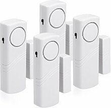 kwmobile 4er Set Tür Fenster Alarm - 4x akustischer Einbruchschutz mit Batterien - Drahtlose Home Security Alarmanlage - Sirene mit 100dB Lautstärke