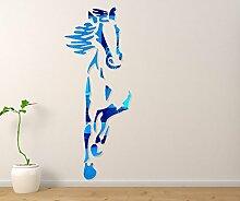 KWXHG 3D-Acryl Spiegel crystal Mauern - Wohnzimmer Esszimmer Schlafzimmer Einrichtung chinesische Pferd Wandspiegel, blau,