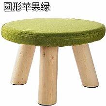 KXZDAS Home - Einfache Massivholz Wohnzimmer Hocker kleine Sitzbank kleine quadratische Hocker erwachsene Kinder aus Baumwollgewebe sofa Bank schuh Sitzbank runder Apfel grün