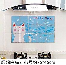 KXZDAS Home hitzebeständige Drucken anti-öl Aufkleber Küche Gasherd Dunstabzugshaube Fliesen - Nachweis Aufkleber 75 * 45 cm Fantasy Cat 45 * 75 cm.