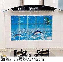 KXZDAS Home hitzebeständige Drucken anti-öl Aufkleber Küche Gasherd Dunstabzugshaube Fliesen - Nachweis Aufkleber 75 * 45 cm Dolphin Designs 45 * 75 cm.