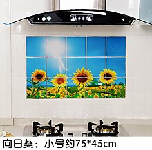 KXZDAS Home hitzebeständige Drucken anti-öl Aufkleber Küche Gasherd Dunstabzugshaube Fliesen - Nachweis Aufkleber 75 * 45 cm Sonnenblumen 45 * 75 cm.