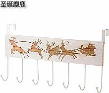 KXZDAS kreative Holz- deer robe Haken ohne Haken an der Wand hinter der Tür gig auf Nagel-Tür Kleiderbügel Garderobe Weihnachten Elch hängen