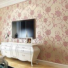 KXZZY Europäische 3D nicht - Gewebte Tapete Wohnzimmer Schlafzimmer TV Hintergrundbild 10m*0.53m rosa