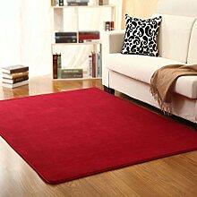 KYDJ FIOFE/modernen minimalistischen im Europäischen Stil bett Decke/Schlafzimmer Wohnzimmer Sofa Couchtisch Wolldecke/Rechteckiger Teppich Kaffee/Wein rot (Farbe: Burgund, Größe: 40 * 160 cm)